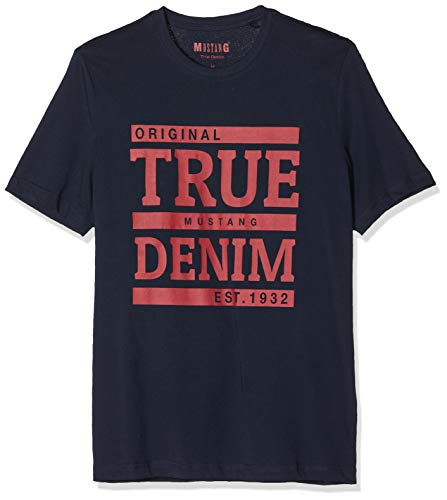 MUSTANG Herren Alex C Print T-Shirt, Grau (Dark Sapphire 4136), Medium (Herstellergröße: M)