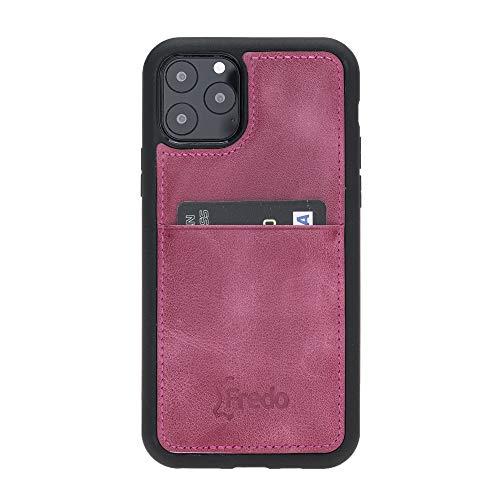 FREDO Funda de piel compatible con iPhone 11 Pro de 5,8 pulgadas, Reflex, ultrafina, con tarjetero para Apple iPhone 11 Pro, funda hecha a mano, color rosa