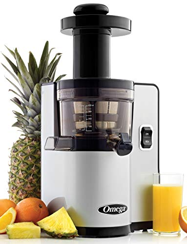 Omega VSJ843QS Vertical Slow Masticating Juicer Makes Continuous Fresh Fruit and Vegetable Juice at 43 Revolutions per Minute Features Compact Design Automatic Pulp Ejection, 150-Watt, Silver (Renewed)