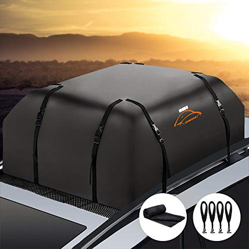 Car Top Bag,Roof Bag Cargo Carrier,Waterproof Auto Luggage Topper Rooftop Bag for Car with/without Rack,Universal Vehicles Roof Storage Bag for Jeep SUV Toyota Subaru with Protective Mat,15 Cubic Feet