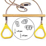 Cateam Trapeze Swing Bar for Kids Yellow with mounting kit - 220lb Load - Playground Swing Set Accessories Replacement - DIY Trapeze Pull up bar for Your Gym