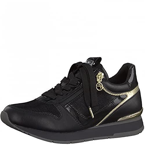 Tamaris Damen Sneaker, Frauen Low-Top Sneaker,lose Einlage,Comfort Lining,Sportschuhe,Freizeitschuhe,Turnschuhe,Laufschuhe,Black/Gold,40 EU / 6.5 UK