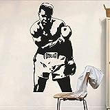 Pegatina de pared de vinilo adhesivo removible Muhammad Ali deportes calcomanía para niños boxeo mural impermeable decoración del cartel 57x110cm