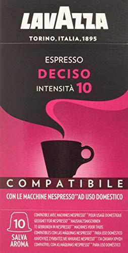 Lavazza Cápsulas de Café Compatibles Nespresso Espresso Deciso, Paquetes de 10 x 10 Cápsulas (Total: 100 Cápsulas)