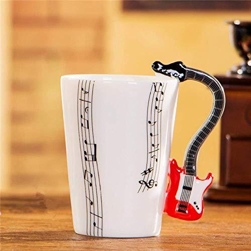WYYHYPY Taza de Guitarra eléctrica de cerámica de Copa Musical Taza de la Leche de Leche nórdica Copa del Instrumento Musical, Guitarra roja de Cinco líneas, 201-300ml Tazas
