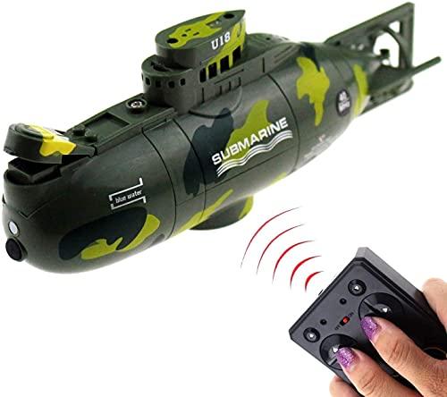 DDTETDY Mini RC Submarino Control Remoto Barco Barco Modelo Militar Juguete De Agua Electrónico Buceo Impermeable para Pecera Tina Agua Niños Hobby Juguetes Cumpleaños Niños Regalos Navidad Juguetes