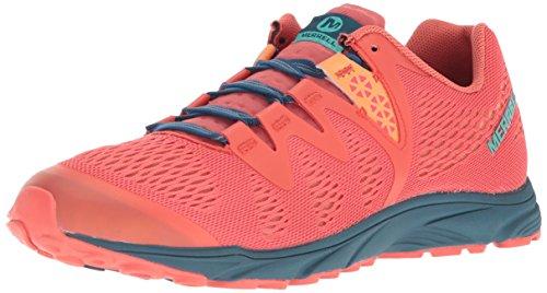 Merrell Riveter E-Mesh, Zapatillas de Senderismo Mujer, Rojo (Hot Coral), 36 EU