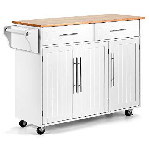 DREAMADE Küchenwagen aus Massivholz, Servierwagen Rollwagen Küchenschrank mit Schublade und Tür, Küchentrolley Küchenregal auf Rollen,Weiß