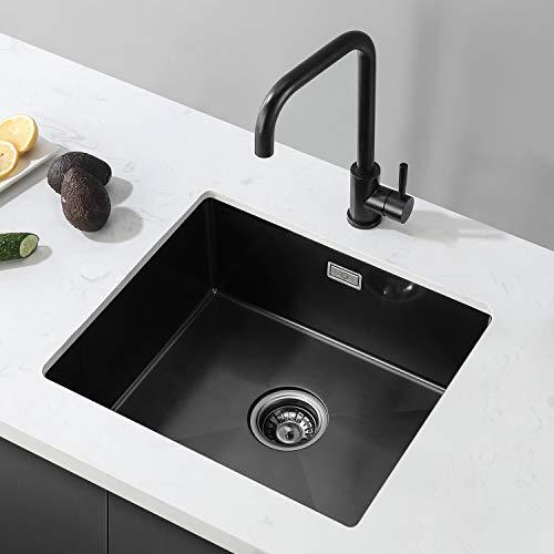 CECIPA Fregadero de Cocina un Seno con el grifo,50 cm*43 cm Incluyendo Con grifo de agua Rebosadero y Juego de Desagüe (un Seno Incluyendo Con grifo de agua,)