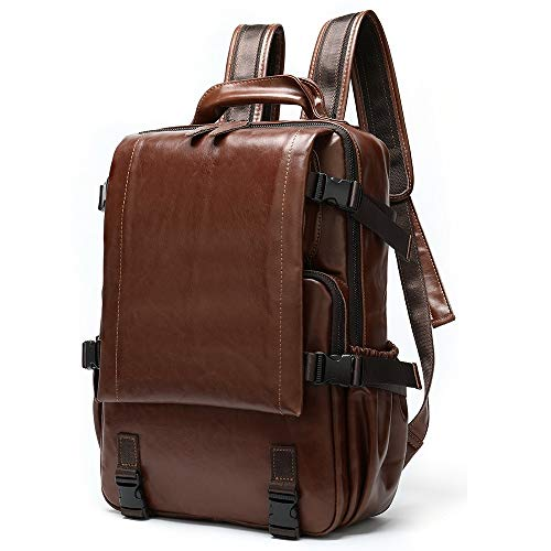 Sebasty Stylish Leather Unisex 15-inch High-capacity Computer Backpack Retro Minimalist Outdoor Mountaineering Bags (27.5 * 8.5 * 39CM) (Color : Brown)