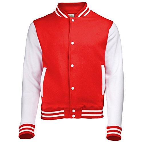Jacke im Stil einer Uni-/Baseball-Jacke, Unisex Gr. 12 - 14 Jahre, FIRE RED/WHITE