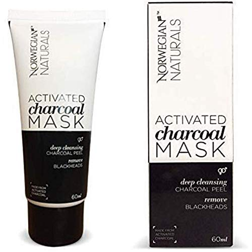 NORWEGIAN NATURALS Detox Pure Charcoal Face Mask for Men & Women - Activated Skin Care Deep Cleansing Peel-Off Black Face Mask for Black Head Removal Suitable for All Skin Types 50ml