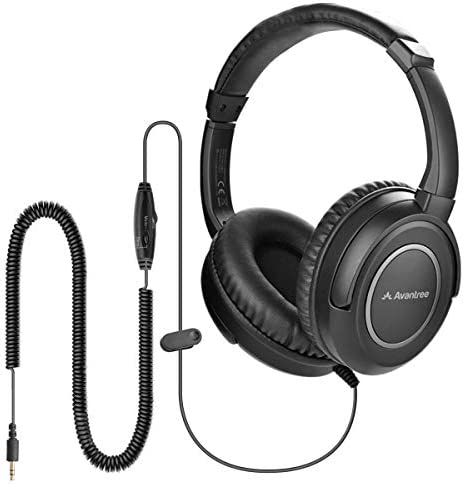 Avantree HF039 Long Coiled Cord Headphones for TV and PC with Volume Control 16 4 Feet 5M Extended product image
