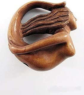 Circling Mermaid Japanese Hand Carved Boxwood Netsuke Bead