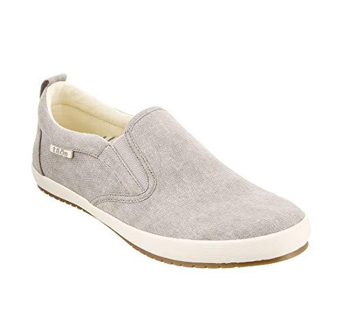 Taos Footwear Women's Dandy Grey Wash Canvas Slip On 10 M US