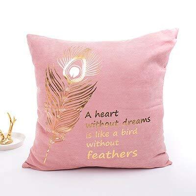 N / A Gemütliche rosa Kissenbezug Weiche Goldfolie Mädchen Zimmer Herz Ananas Home Dekorative Kissenbezug Für Schlafsofa 43x43cm Reißverschluss offen 43CM