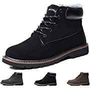 gracosy Men's Lace Up Ankle Boots, Winter Suede Fur Lined Warm Snow Boots High Top Anti Slip Military Combat Martin Shoes Outdoor Hiking Trekking Sneakers Desert Boots Work Formal Footwear Black Size