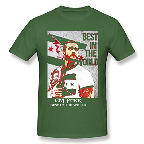 Cm Punk Best In The Word Men's Basic Short Sleeve T-Shirt Casual Cotton Soft T Shirts Moss Green 5XL