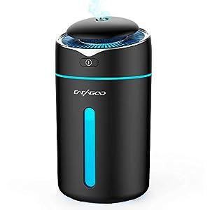 CACAGOO 300ml Mini Humidificador Bebes ( 2 Niveles de Vapor, 7 Colores de Luz LED, Apagado Automático y fuente de Alimentación USB) Humidificador Ultrasónico Silencioso,Negro