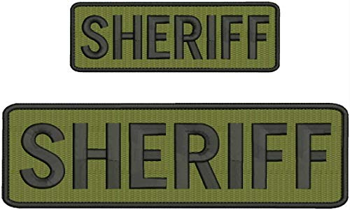 'Sheriff' Embroidery Patch 3X8 and 2X6 INCHES Hook OD Green by HighQ Store