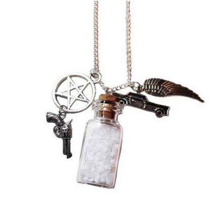 Halskette mit Anhänger in Salzbehälter-Optik, Kettenlänge ca. 61cm, für Fans der Serie Supernatural