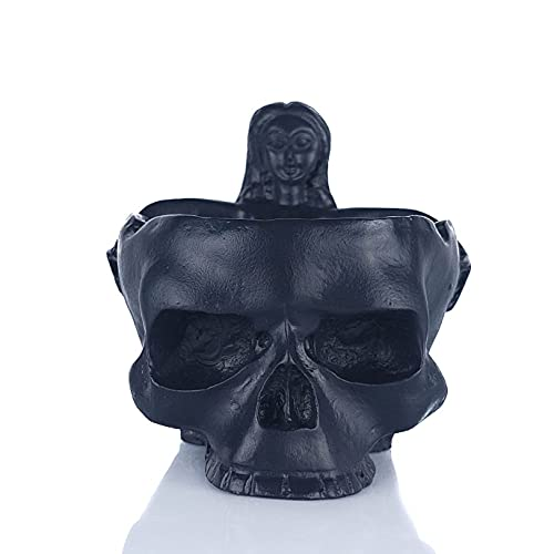 Cenicero de Calavera - Escultura Cráneo con Mujer para Decoración del Hogar