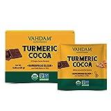 VAHDAM, Cúrcuma + Mezcla de elixir de superalimento de cacao - 10 porciones | Cacao en polvo de cúrcuma orgánica del USDA | Ayuda en la recuperación y restauración del cuerpo | No transgénico, vegano
