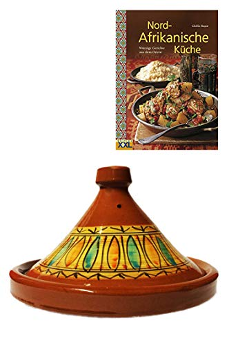 Marokkanische Tajine Topf zum Kochen + Kochbuch | Schmortopf glasiert Gulnar Ø 30cm, für 4-5 Personen | inklusive Rezepte Buch Nord Afrikanische Küche | ORIGINAL Tontopf handgetöpfert aus Marokko