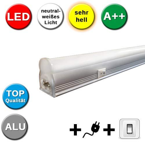 LED Lichtleiste 115 cm mit Schalter & Steckerkabel 15W sehr hell 1100 Lumen Aluminium Unterbauleuchte Lampe unter Schrank Küche