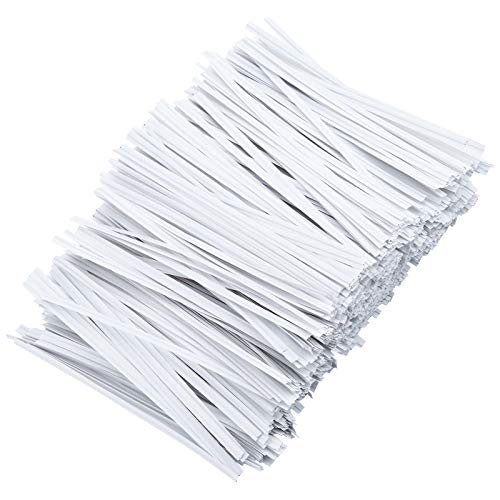 LUTER 1000 Pcs 5 inches Paper White Twist Ties Reusable Bag Ties Paper Bread Twist Ties for Candy Bags, Coffee Bags, Snacks, Cake Pops, Party Supplies