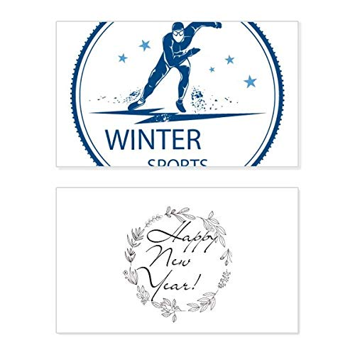 Winter Sport ski pak en laarzen patroon nieuwjaarskaart herdenkingsbericht zegen