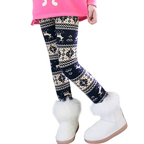 iSpchen Leggings per Bambini Stampati più Leggings di Velluto Autunno e Inverno Pantaloni Caldi Leggings Floreali Spessi