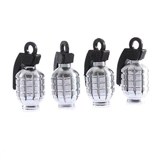 Ruifu Lot de 4 bouchons de valve anti-poussière en forme de grenade pour pneus de voiture ou de vélo (argent)