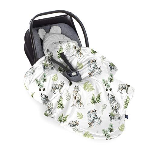 Baby Steps Einschlagdecke für Babyschale, Universal Baby Decke für Autositz Kinderwagen Babybett - 115x90 cm - Passend für Maxi-Cosi, Römer, Cybex, Made in EU, Wolf-Gray