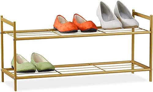 A-Generic Shoemaker de Metal 2 estantes, Zapatos de Tejido, 6 Pares, Acero, Miel marrón, Marzo-Dorado