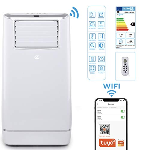 Flinq Smart Mobile Klimaanlage 13.000 BTU mit WiFi, App, Fernbedienung   Mobiles Klimagerät mit Abluftschlauch und Fensterkitt für Räume bis 50qm   Kühlen, Entfeuchten und Lüften   max. 65db