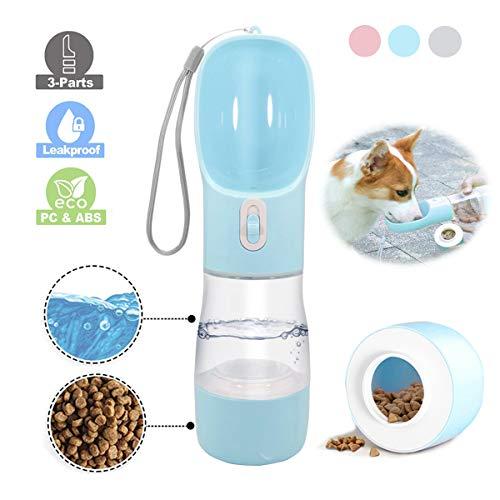 WR WPAIER 2 in 1 Hund Wasserflasche, Wasser und Nahrung Flasche Haustier Katze Travel Trinkflasche Tragbare Reise Trinkflasche Wasserspender für Unterwegs Outdoor (Blau)