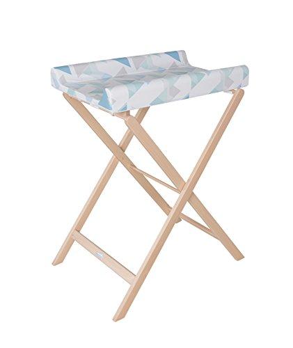 Geuther Table à Langer Pliable Trixi, Naturel, Matelas Coloris Triangle