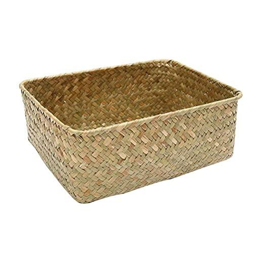 Prevessel Cesta de almacenamiento tejida, cesta organizadora de pastas marinas, pequeña cesta de almacenamiento de mimbre, caja de almacenamiento de ratán para baño, sala de estar, cocina