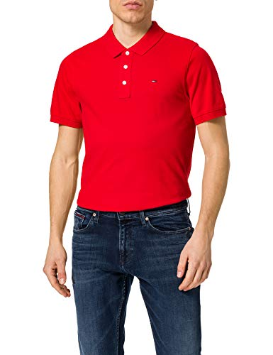 Tommy Jeans TJM Original Fine Pique Polo Camisa, Carmesí intenso, S para Hombre