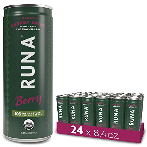 RUNA Organic Clean Energy Drink, Berry | Natural High Caffeine Coffee Alternative | Sustained Energy Boost with No Jitters | Naturally Sweetened, 8.4 oz (Pack of 24)