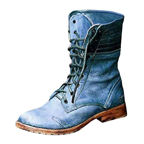 Tomwell Damen Stiefel Mit Blockabsatz Biker Boots Herbst Winter Schnürstiefeletten Worker Boots Winterstiefel Warm Casual Combat Boots Klassischer Schnürhalbschuh Blau 42 EU