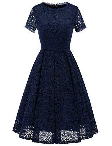 DRESSTELLS Damen Midi Elegant Hochzeit Spitzenkleid Kurzarm Rockabilly Kleid Cocktail Abendkleider Navy XL