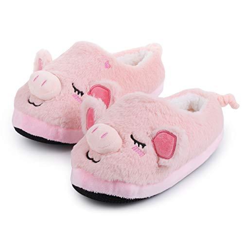Katara Schwein Hausschuhe Kuschelige Plüsch-Latschen für Damen Herren Erwachsene Kinder als Geschenk, geschlossene Pantoffeln 28cm EU Einheitsgröße 36-44, Pink