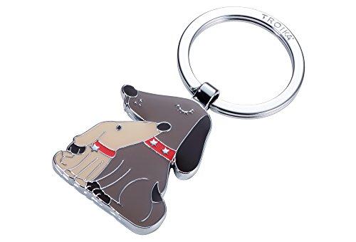 TROIKA DOG & DOGGY – KR18-05/BR – Schlüsselanhänger Hund, Welpe – der beste Freund des Menschen – Metallguss/Emaille– glänzend – verchromt – beige, braun – TROIKA-Original