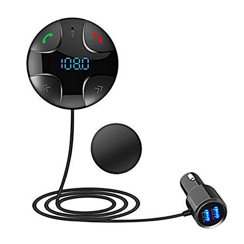 iitrust Auto FM Transmitter, Bluetooth 3.0 Freisprecheinrichtung | Auto-Ladegerät, Bluetooth Stereo Musikwiedergabe 2 USB-Port (Schwarz)