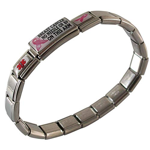 Breast Cancer No Needle or BP on THIS Arm Medical Alert ID Bracelet for Women Italian Charm Style Stretchable Adjustable Awareness Stainless Steel Pink Ribbon