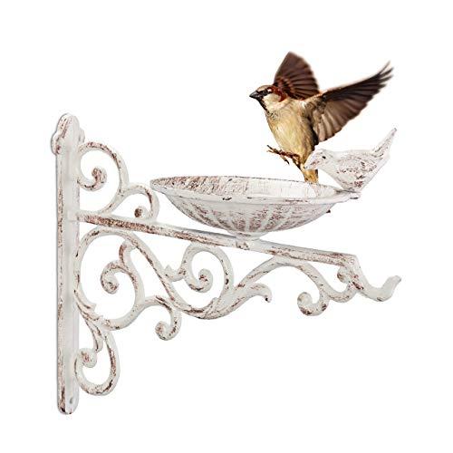 Relaxdays Vogeltränke Gusseisen, Wandmontage, wetterfest, Vintage Vogelbad Wildvögel, Gartendeko, HBT 24x28x14 cm, weiß