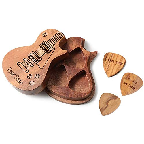 Personalized Guitar Picks - Personal Custom Engraved Wooden Guitar Picks Set (2 Piece Engraved Picks + 1 Unengraved Pick + Box) for Jazz/Guitar/Ukulele/Beth, Valentine's Day Gifts