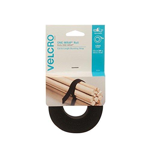 "VELCRO Brand Black ONE-WRAP Straps 12' x 3/4"" Roll"